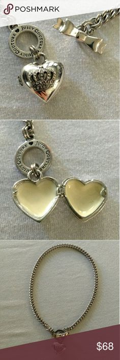 Juicy Couture Bow Toggle Heart Locket Necklace? Just about 20 inches long. Fell in love with this but unfortunately I'm am allergic to it. (See the 4th picture) Not noticeable when wearing it since it is on the back of the heart. I still have the box Juicy Couture Jewelry Necklaces