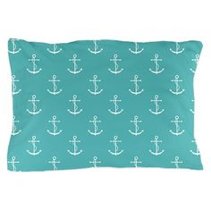 Teal Anchors Pattern Pillow Case on CafePress.com