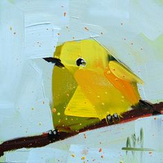 Yellow Warbler no. 77 original bird oil painting by Angela Moulton prattcreekart