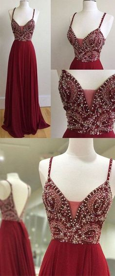 spaghetti straps burgundy chiffon beaded long prom dress, PD4580