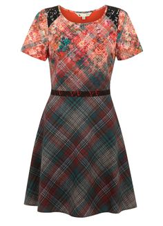 The 90s Check Floral Dress #yumi #aw14