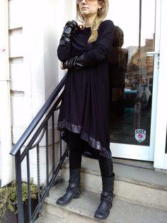 Black Asymmetric Maxi Dress / Extravagant Over size Dress / Black Maxi Tunic