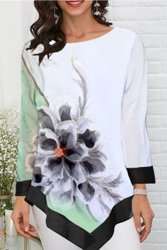 Casual Floral Gradient Print Paneled Irregular Hem Blouse - Diorer Types Of Sleeves, Blouses For Women, Going Out, Floral Tops, Casual, Latest Tops, Clothes, Type 3, Crew Neck