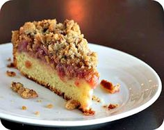 Strawberry Rhubarb Coffee Cake from Quilt Nut Creations.  I love everything about this!  Strawberry Rhubarb, buttery cake, crumbs on top.  My idea of perfect.