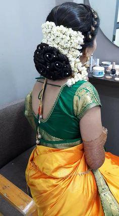 Indian Long Hair Braid, Braids For Long Hair, Bridal Hair Buns, Indian Flowers, Big Bun, Bun Hairstyles, Silk Satin, Long Hair Styles, Side View