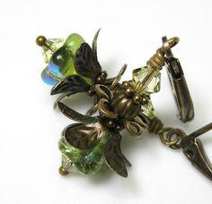 Green Swarovski Czech Glass Vintage Style Lucite by jewelrybyNaLa, $19.95