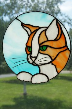 Orange Cat Suncatcher by StainedGlassByBev on Etsy Stained Glass Suncatchers, Faux Stained Glass, Stained Glass Projects, Fused Glass Art, Stained Glass Windows, Mosaic Glass, Stained Glass Patterns Free, Stained Glass Designs, Making Stained Glass