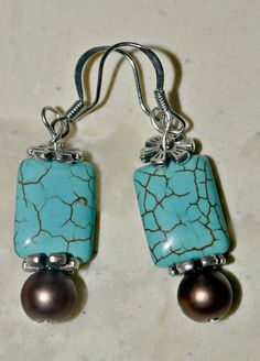 Turqouise and brown earrings on silver ear by PeepsCraftyCreations, $9.00