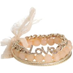 Love Bangle Set (495 INR) ❤ liked on Polyvore featuring jewelry, bracelets, accessories, beading jewelry, bangle bracelet, beaded bangle bracelet, artificial jewellery and fake jewelry
