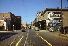 Front Street district, Portland 1941: A view looking north on S.W. Front from S.W. Alder Street (Oregon Historical Society Slide Collection, Org Lot 178)