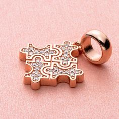 """""""Gold Puzzle"""" 925 Silver, Sterling Silver, Puzzle Pieces, Autism, Different Colors, Dangles, Charms, Stud Earrings, Engagement"""