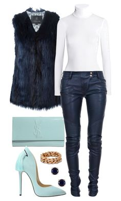 """""""Shades of blue"""" by minkstyles ❤ liked on Polyvore featuring moda, Unreal Fur, Wolford, Yves Saint Laurent, Balmain, STELLA McCARTNEY y Kate Spade"""