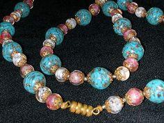 Vtg 1940/50's 55in Murano Venetian Glass Lampwork Bead Necklace w Earrings Set