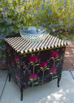 hand painted furniture by Sally Eckert,Boulder ,CO, www.sallyeckert.com,acrylic on alder 303.444.6550