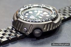 SEIKO modified DLC 64 titanium shell + five grid black strip + 64 titanium screws Seiko Skx007 Mod, Seiko Mod, Fine Watches, Cool Watches, Watches For Men, Seiko Marinemaster, Seiko Monster, Marine Chronometer, Diesel Watch
