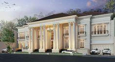 Showcase Model Luxury Homes - Rumah Klasik Classic House Exterior, Classic House Design, Dream House Exterior, Dream Home Design, Villa Design, Facade Design, Exterior Design, Modern Bungalow House, Modern Mansion