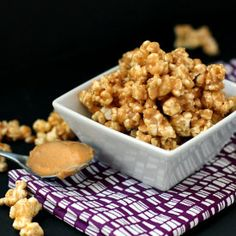 Move over kettle + caramel corn!  This pb popcorn is creamy, crunchy, sweet and salty. No butter or oil. Gluten free and vegan. YUM!