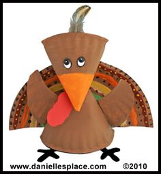 This turkey craft project was made using paper plates.  These turkey projects would add a cute 3D effect to a Thanksgiving bulletin board display.