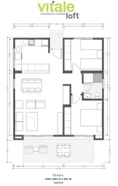 Small little adjustments and would be a perfect holiday home cabin. Small House Floor Plans, My House Plans, Cabin Plans, Small House Design, Modern House Design, Plan Hotel, 2 Bedroom House Plans, Bedroom Loft, House Construction Plan