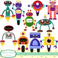 Cute Robots clip art set 10 designs. by DigitalDesignStudio, £3.00
