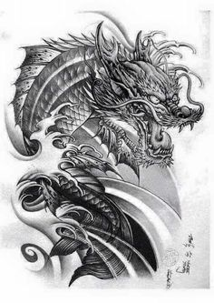 Free koi tattoo art 480 640 louie pinterest for Black dragon koi