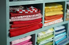 A great way to store fabric! I could see what I have so I don't overbuy!