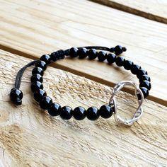 Dna bracelet Onyx silver Dna bracelet onyx by CustomLeatherDesign