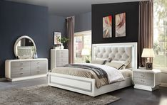 Bed has button tufted upholstered headboard with LED lighting. Two-ton ivory/latte high gloss finish. Queen or king size bed, dresser, mirror, night stand, and tall chest available. Made by Acme Furniture. Cheap Queen Bedroom Sets, King Bedroom Sets, Queen Bedding Sets, Bedroom Bed, Bedroom Setup, Bedroom Decor, White Bedroom, Bedroom Ideas, Master Bedroom
