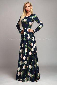 Floral Dress Maxi Dress Navy Elegant dress by AugustVanDerWalz Modest Dresses, Elegant Dresses, Pretty Dresses, Beautiful Dresses, Casual Dresses, Fashion Dresses, Long Dresses, Hijab Casual, Prom Dresses