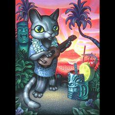 "Brad ""Tiki Shark"" Parker ""Tiki Cat"" Print  at Soap Plant / Wacko / La Luz de Jesus Gallery"