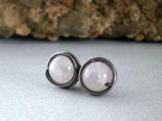 Rose Quartz Stud Titanium Gemstone Earring Oxidized by RuthAndJack