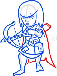 how to draw clash of clans archer step 11