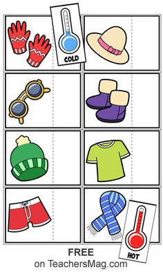 Temperature Worksheets: Hot or Cold? For these fun worksheets students need to examine the picture of a piece of clothing and then cut-out and paste the indication of it is the kind of clothing for hot weather or cold weather. Weather Activities Preschool, Toddler Learning Activities, Free Preschool, Preschool Activities, Teaching Weather, Seasons Worksheets, Weather Worksheets, Preschool Worksheets, Weather For Kids