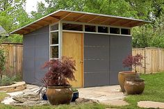 Studio Shed, a Colorado-based company is all geared up to install its first prefabricated structure in Palo Alto. Two people who wanted an addition to their small home without having to part with their outdoor living space started the company in. Outdoor Storage Sheds, Storage Shed Plans, Outdoor Sheds, Backyard Studio, Backyard Sheds, Modern Backyard, Shed Blueprints, Custom Sheds, Cheap Sheds