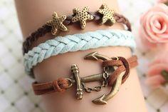 sailing braceletretro bronze anchor with starfish by fabuloustime, $8.59