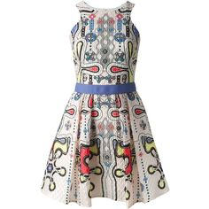 Peter Pilotto Printed Waffle Textured Dress (51,170 THB) ❤ liked on Polyvore featuring dresses, white dress, peter pilotto, white textured dress, circle skirt and white skater skirt