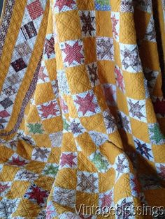 Tiny Tiny Stars on CHEDDAR Antique QUILT Well Loved But Still Beautiful
