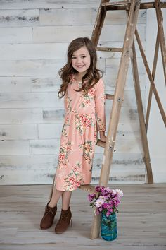 Little Girls Floral Dress, Cinched Dress, Spring Fashion, Ryleigh Rue Clothing, Peach Dress, Kids Clothing, Kids Boutique, Online Shopping, Online Boutique, Boutique