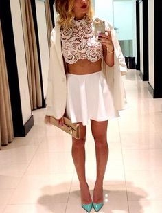 Love the lace top and white skater skirt
