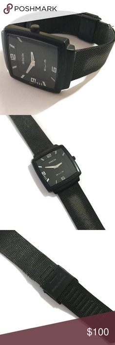 Authentic Invicta VTG Mesh Watch A vintage authentic men's invicta black stainless steel watch. Swiss quartz movement, needs a battery. Waterproof up to 100 feet. Watch is in used condition so check pics before buying or offering.  POSH RULES ONLY NO PP NO LOWBALL OFFERS PLEASE  HAPPY POSHING!🖤🖤🖤🖤🖤 Invicta Accessories Watches