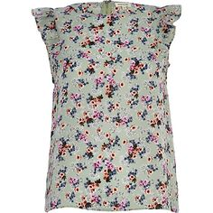 River Island - Green floral frill sleeve shell top