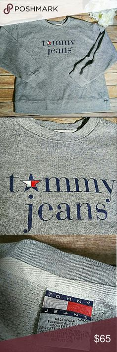 """SALE🌷Vintage Tommy Hilfiger Tommy Sweatshirt Vintage Tommy Hilfiger Tommy Jeans sweatshirt! The sweatshirt is a size large, it has a little wear in the star for the """"O"""" and the Tommy Hilfiger logo on the back, but otherwise in excellent condition. Bundle up! All offers are welcome here in my closet! Tommy Hilfiger Tops Sweatshirts & Hoodies"""