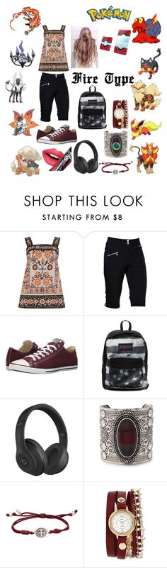""""""" Fire Pokemon"""" by carmen-41-navarro on Polyvore featuring Warehouse, Daily Sports, Converse, JanSport, Beats by Dr. Dre, Forever 21, My Saint My Hero, La Mer and Fiebiger"""