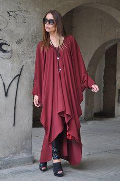 XXL,XXXL Maxi Dress / Extravagant Long Dress / Daywear Dress/Long Chiffon / Daywear Dress / Summer Dress / Dark Red Long Kaftan