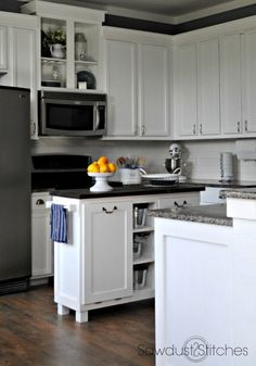 Kitchen Floor Makeover DIY Kitchen Island How to Refinish Kitchen Cabinets DIY Farmhouse Table Chain Suspended Shelving Chalkboard Sign