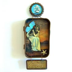 Mixed media Altoid tin hanging shadow box fairy assemblage shrine -
