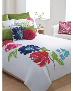 Multi Pop Floral 6pc  Comforter Set it would go well in the loft... wonder if could switch grn for blu