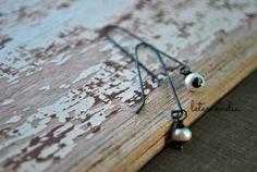 Modern Pearl Drop Earrings with White Freshwater Pearl - Sterling Silver - Slim Minimalist - Simple - Thin - Elegant - Threader - Handmade by letemendia on Etsy