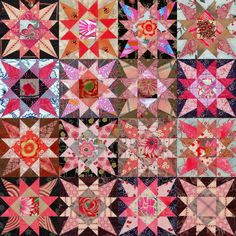 "Star quilt blocks by Susan,  ""Jester"" block design by Anita Grossman Solomon at Make It Simpler"