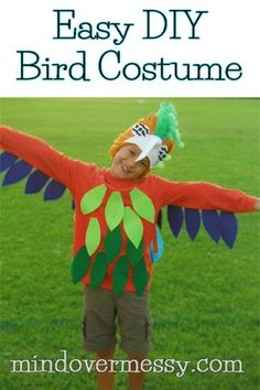 This super easy costume uses hot glue and a snow hat to make a Macaw or any bird in no time at all. The feathers are made of felt and hot glued right to the shirt. What could be easier?!